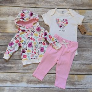 Organic Cotton 3pc Floral Outfit